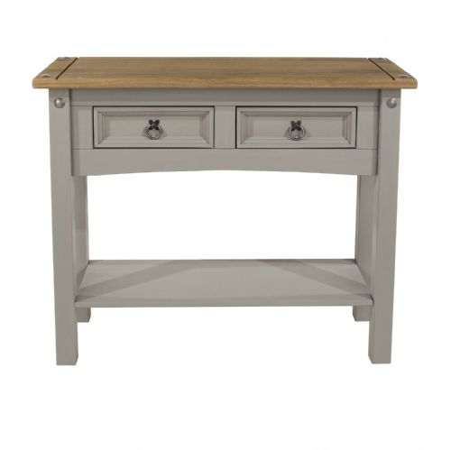 Premium Corona Grey Wash Hall Table with Shelf